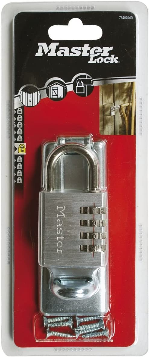 Master Lock 7640704EURD 115mm Hasp and 40mm 4 Digit Resettable Combination Padlock Set