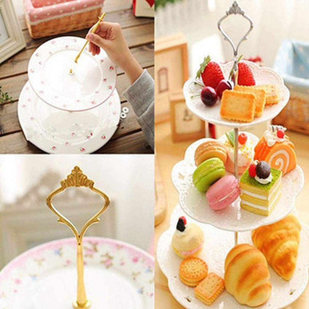 1Set 2/3 Tiers Wedding Party Cake Display Crown Handle Metal Cake Plate Stand - Gold 2 by giveyoulucky (Image #4)
