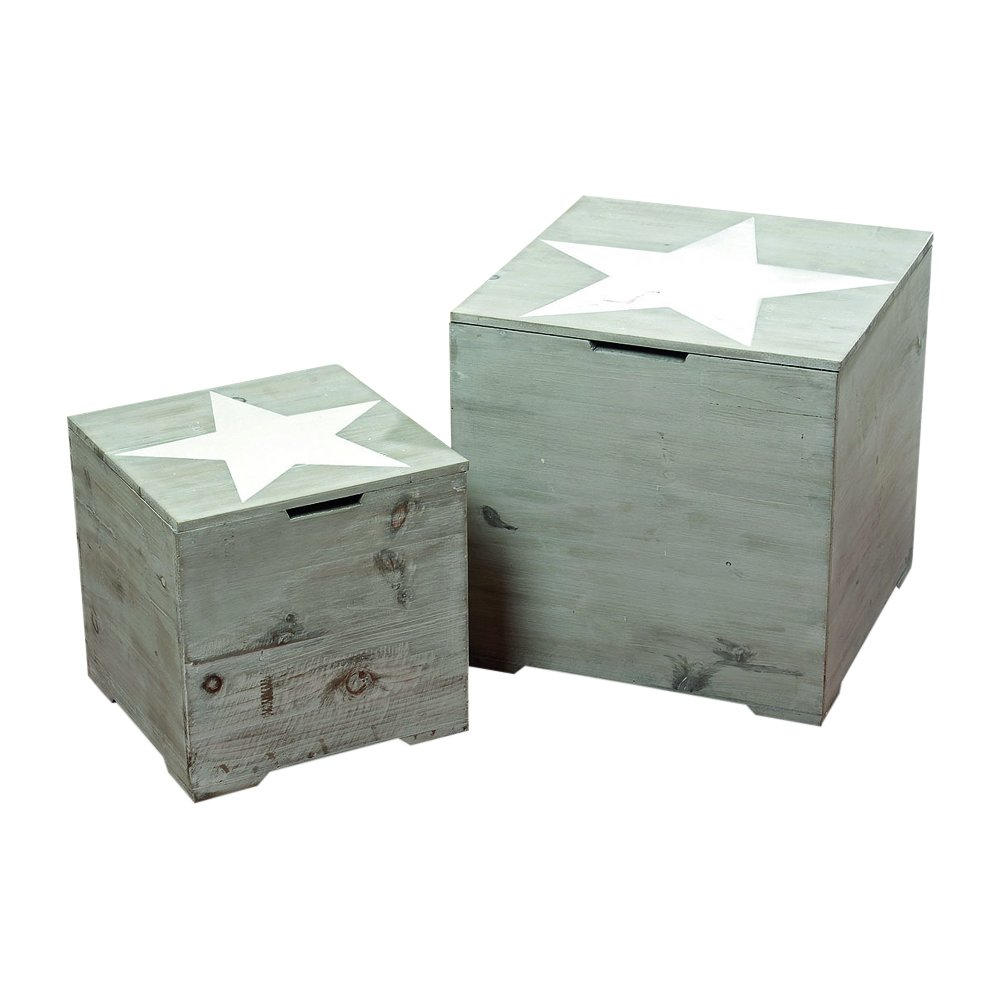 The Rustic Cape Cod Star Decorative Furniture Cubes, Set of 2, Sustainable Wood, Quality Hardware, Driftwood Gray, 15 3/4 x 15 3/4 x 15 3/4 and 11 ¾ x 11 ¾ x 11 ¾ Inches, by Whole House Worlds