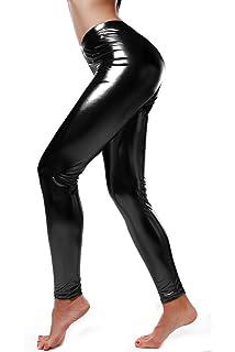 1ddf9ecddf750 DIAMONDKIT Women Faux Leather Leggings Wet Look Metallic Waist Legging Pants  Trousers