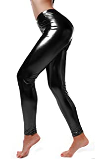 f168a7f6f2cf7 DIAMONDKIT Women Faux Leather Leggings Wet Look Metallic Waist Legging  Pants Trousers