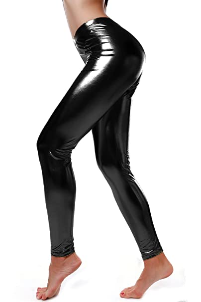 3d426010fd82d7 DIAMONDKIT Liquid Wet Look Shiny Metallic Stretch Leggings (S, Black)