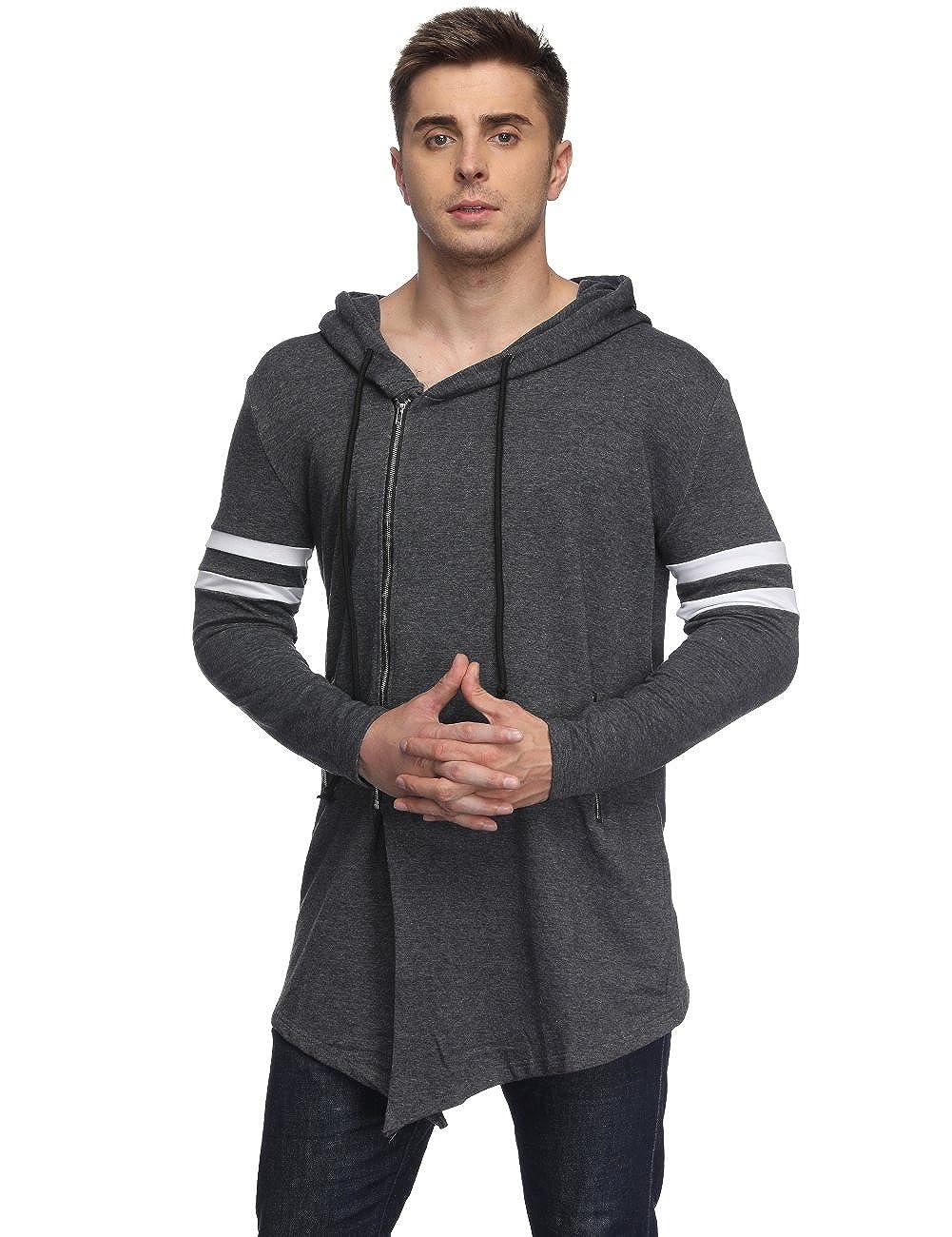HEQU Men's Hipster Hip Hop Asymmetrical Zip Hoodies Irregular Long Jacket