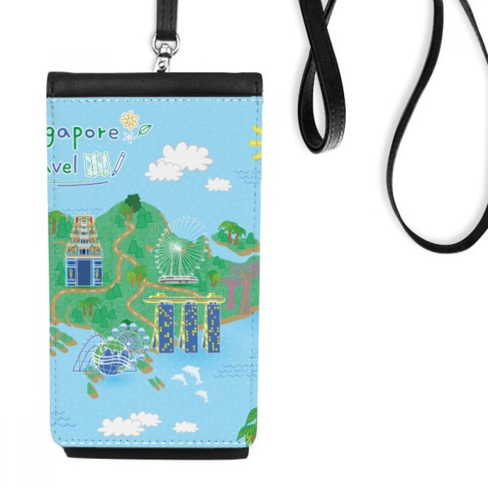 Singapore Travel Map Faux Leather Smartphone Hanging Purse Black Phone Wallet Gift