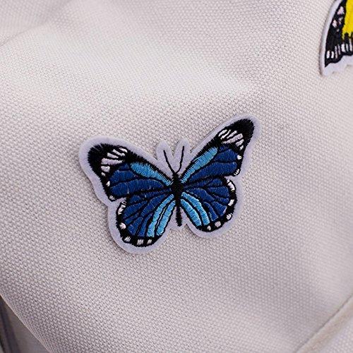 Espeedy Moda mujeres escuela bolsas lienzo mariposas decoración relampagado viaje estudiantil casual bolsa Lady Girl mochila gran capacidad gris