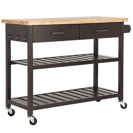 Homegear Open Storage V2 Kitchen Storage Cart w/Rubberwood Cutting Block  Brown