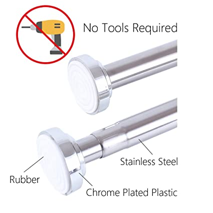 No Drill Stainless Steel Extendable Curtain Rod, Shower Curtain Rod,  Tension Closet Rod,