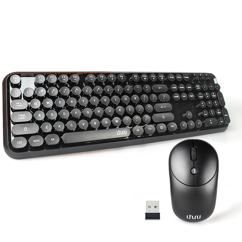 Wireless Keyboard and Mouse, UHURU Wireless Full-size Keyboard and Cordless Mouse with Comfortable Round Key and Smart Power-saving for Computer, Laptop and Mac (Black)