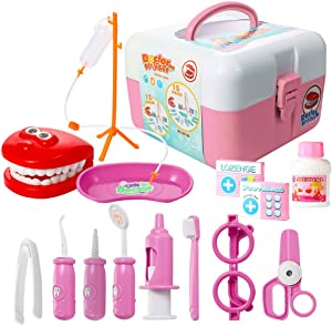 ThinkMax Toy Dentist kit, 15 pcs Kids Pretend Dentist Playset Toys Dentist Medical Role Play Educational Toy Doctor Playset for Girls Boys and Toddlers(Pink)