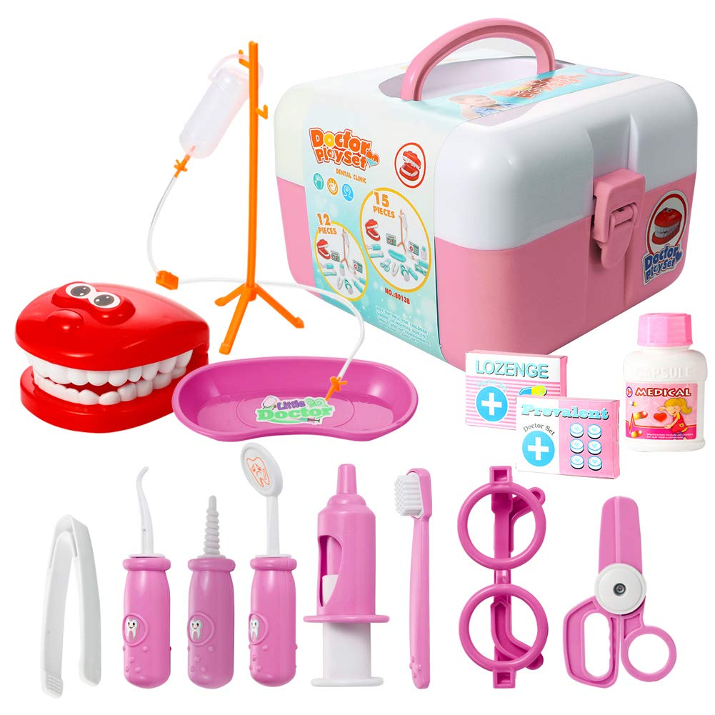 ThinkMax Play Doctor Kit for Kids, 15 Pieces Pretend Play Dentist Medical Set Toys Toddlers Halloween Custome Playset, Games Prizes, Doctor Roleplay (Pink)