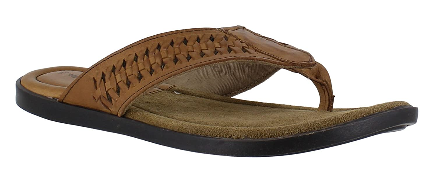 f9e84fb743a7 Red Tape Coe Mens Toe Post Leather Slip on Flip Flop Sandals Brown   Amazon.co.uk  Shoes   Bags