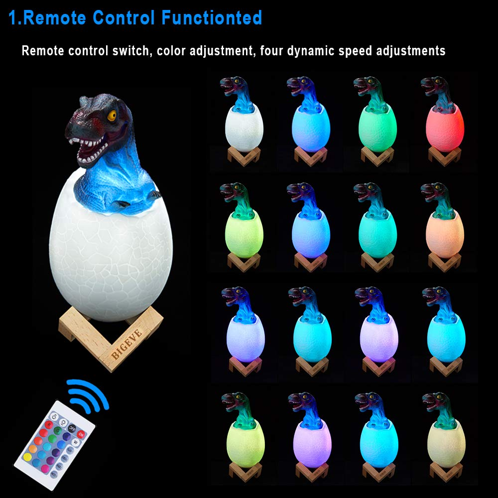 BIGEVE 3D Night Light, Dinosaur Toys, Night Lights for Kids, 3D Dinosaur Lamp Light, Remote Pat Touch Control 16 Colors Table Desk Bedroom Decor, Best Birthday for Boys Girls Kids Baby Friend