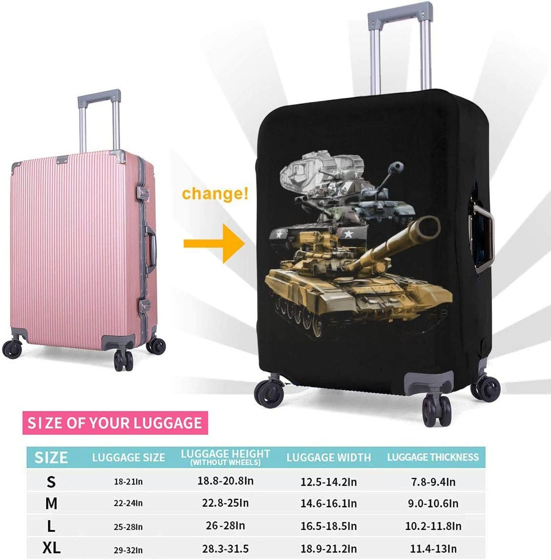 US Army Military Tanks Elastic Travel Luggage Cover,Double Print Fashion Washable Suitcase Protector Cover Fits 18-32inch Luggage