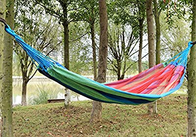 Pparty Supereme Comfort Portable Camping Hammock with Mosquito Net and Carry Pouch -Double 450lbs Max. Relaxing, Comfortable & Fun - Soft Woven Cotton Bed