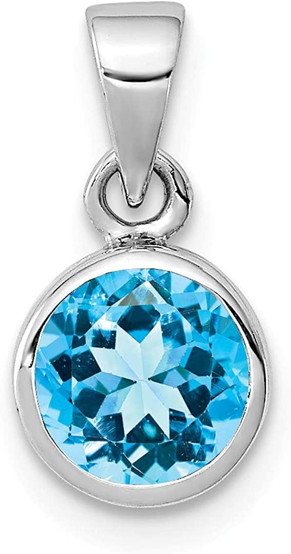 925 Sterling Silver Blue Topaz Pendant Charm Necklace Gemstone Fine Jewelry Gifts For Women For Her