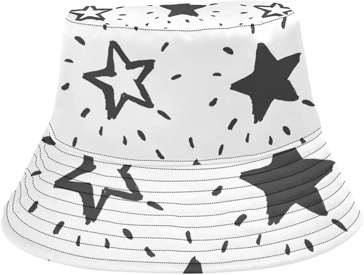Stars Flash Shiny Cartoon Cute Summer Unisex Fishing Sun Top Bucket Hats for Kid Teens Women and Men with Packable Fisherman Cap for Outdoor Baseball Sport Picnic