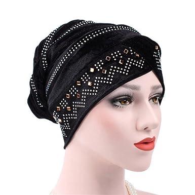 1466deddd052 Hankyky Femmes Musulman Hijab Sous Écharpe Cap Tube Bonnet Couverture  Totale Intérieur Arabie Tête Islamique Diamant Velours Turban Chapeau   Amazon.fr  ...