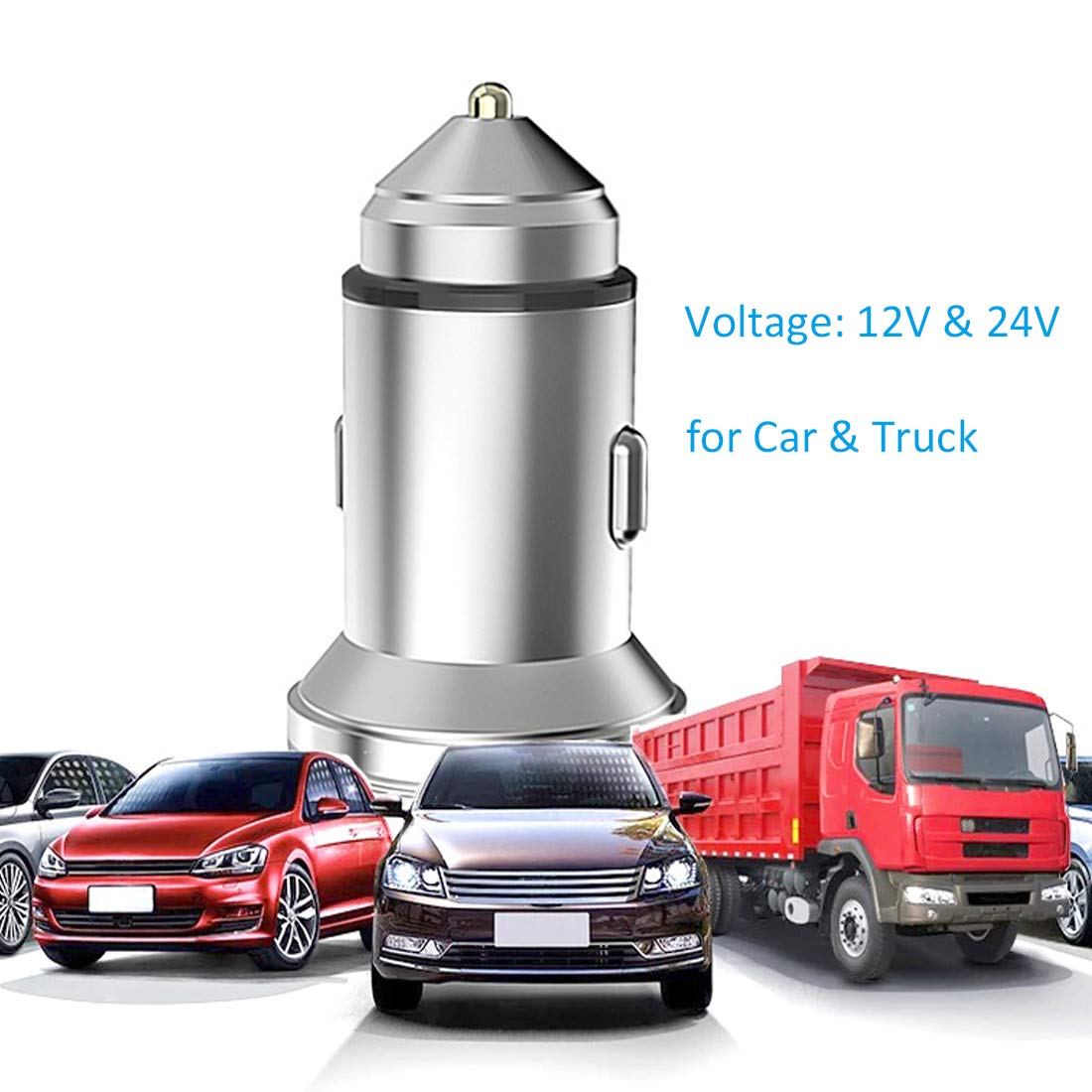 Henzxi Car Charger Metal QC3.0//2.4A Dual USB Ports Car Vehicle Adapter for for iPhone /& Android Smartphone