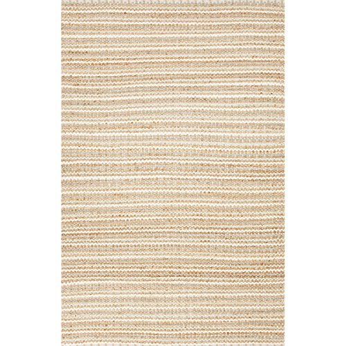Diva At Home 2.5' x 4' Sandy Beige and Sea Green Cornwall Naturals Hand Woven Cotton and Jute Area Throw Rug