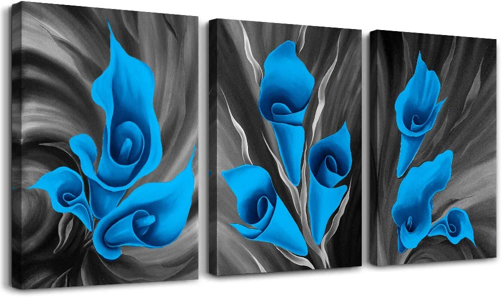 Black and white The theme Blue flower Wall Art for Living Room kitchen Wall Artworks Bedroom wall Decoration Canvas Prints, 3 piece Home bathroom Wall decor posters flower Pictures wall painting