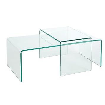 Hochwertiges 2er Set Glas Couchtisch GHOST Transparent Glastisch Satztische Tische Wohnzimmertisch
