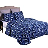 Jml Quilt Set with Pillowcase - Soft Brushed Microfiber, Lightweight Hypoallergenic All-Season Printed Bedding bedspread (Color 8, Full/Queen 88'' x 92'')
