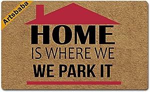 Artsbaba Doormat Home is Where We Park It Door Mat Rubber Non-Slip Entrance Rug Floor Mat Balcony Mat Funny Home Decor Indoor Mat 30 x 18 Inches