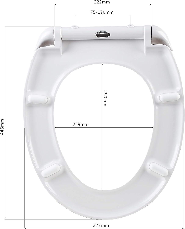 eSituro STS0116 Abattant WC Couvercle de toilette Si/ège de toilette Couvercle WC en Duroplaste avec fonction softclose