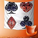 Tapestry Wall Hanging Shaped Cards Poker Face Luxury Fortune Symbols Sapphireative Dark Blue Red Home Decorations for Bedroom Dorm 32W x 32L Inch