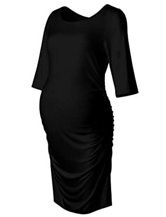 63afc576429c Maternity Dress 3 4 Long Sleeve Ruched Bodycon Midi Knee Length Dress Black  S