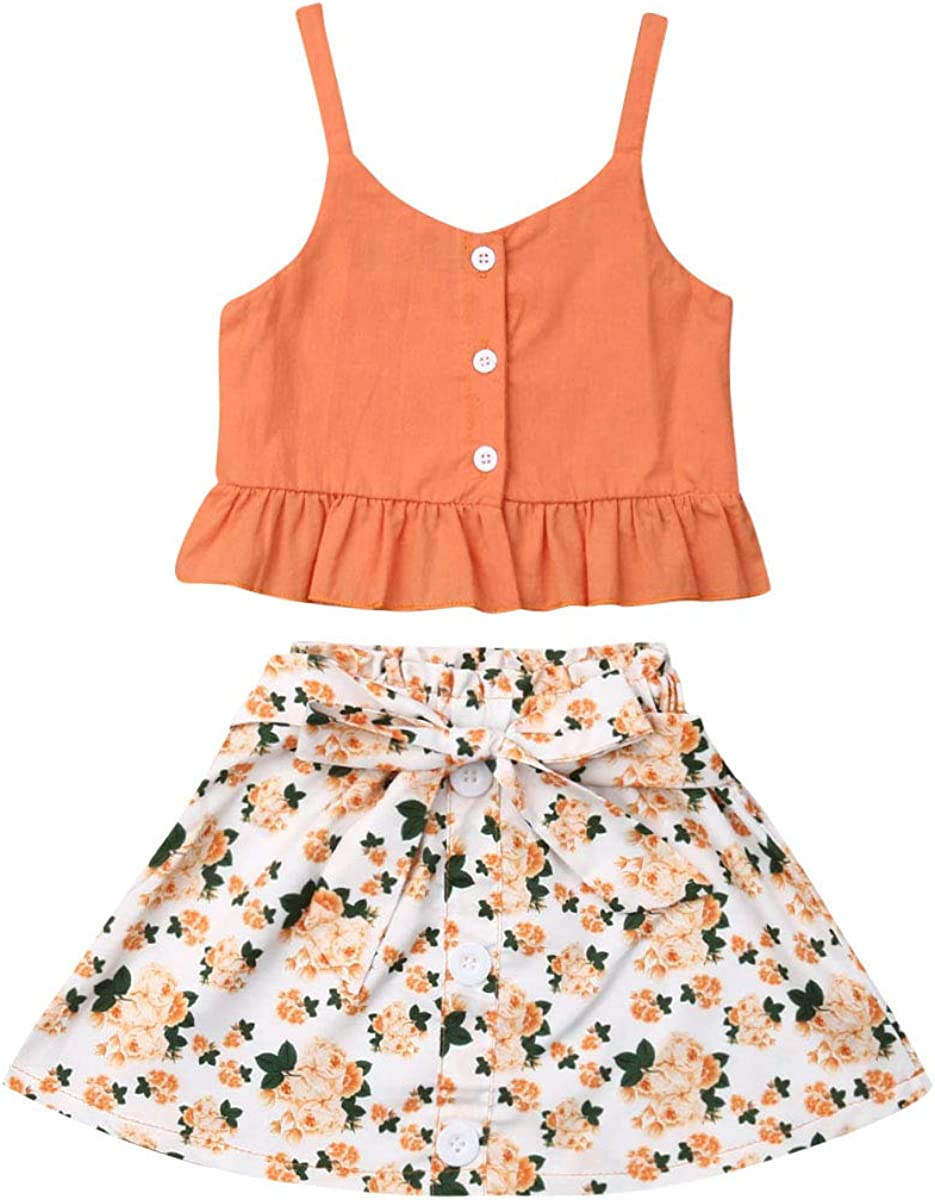 Newborn Toddler Baby Girl Outfits  Floral One Shoulder Cropped Tops Skirt Outfit