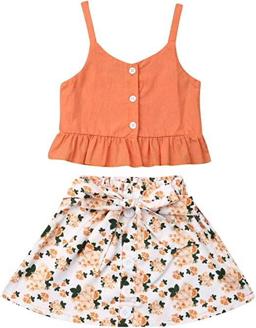 Toddler Baby Girl Floral Clothes Off Shoulder Crop Top Wide Pants Summer Outfit
