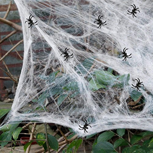4Pack Halloween Stretch Spider Web, White Synthetic Fiber Web Cobweb with 2 Little Fake Spooky Spiders for Indoor & Outdoor Halloween Decorations (White) -