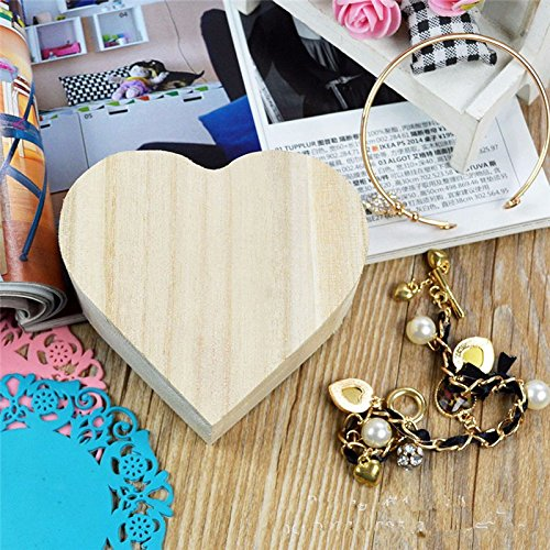 Storage Box - Portable Storage Boxes Heart Shape Wood Box Jewelry Hardware Wedding Gift Makeup Bin Earrings Ring - Tools Duty Ottoman Nesting Red Handle Objects Drawer Rolling Baby ()