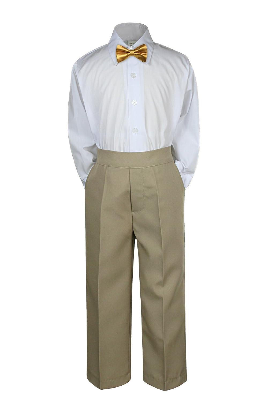 7c2c1af9d Leadertux 3pc Baby Toddler Kid Boy Wedding Formal Suit Khaki Pants Shirt  Bow Tie Set Sm-4T: Amazon.ca: Clothing & Accessories