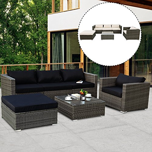 Tangkula Patio Furniture Set 6 Piece Outdoor Lawn Backyard Poolside All Weather PE Wicker Rattan Steel Frame Sectional Cushined Seat Sofa Conversation Set (Gradient Gray with 2 Set Cushion Covers)