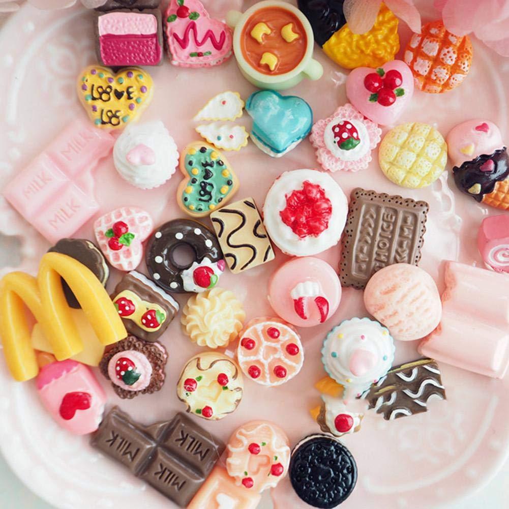Dedeka Resina Slim Charm, 100 Piezas Slime Charms Mixed Resin Cake Animal Slime Beads Haciendo Suministros para Manualidades Scrapbooking DIY 100pcs Mixto ...