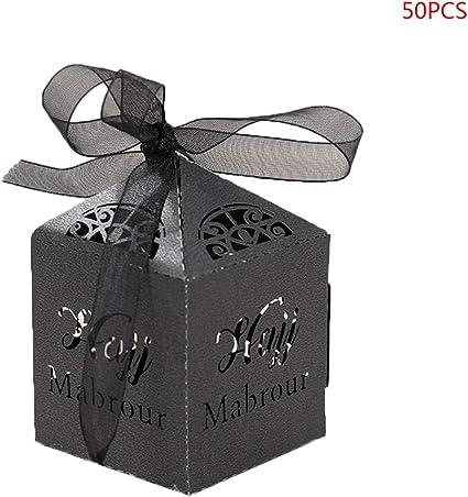 Guoyy - Juego de 50 Cajas de Regalo de Papel para Caramelos de Boda, Papel, Negro, 5 x 5 x 5 cm: Amazon.es: Hogar