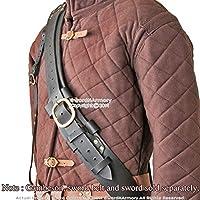 Cinturón Colgador Baldric de cuero auténtico para espada larga medieval, color negro