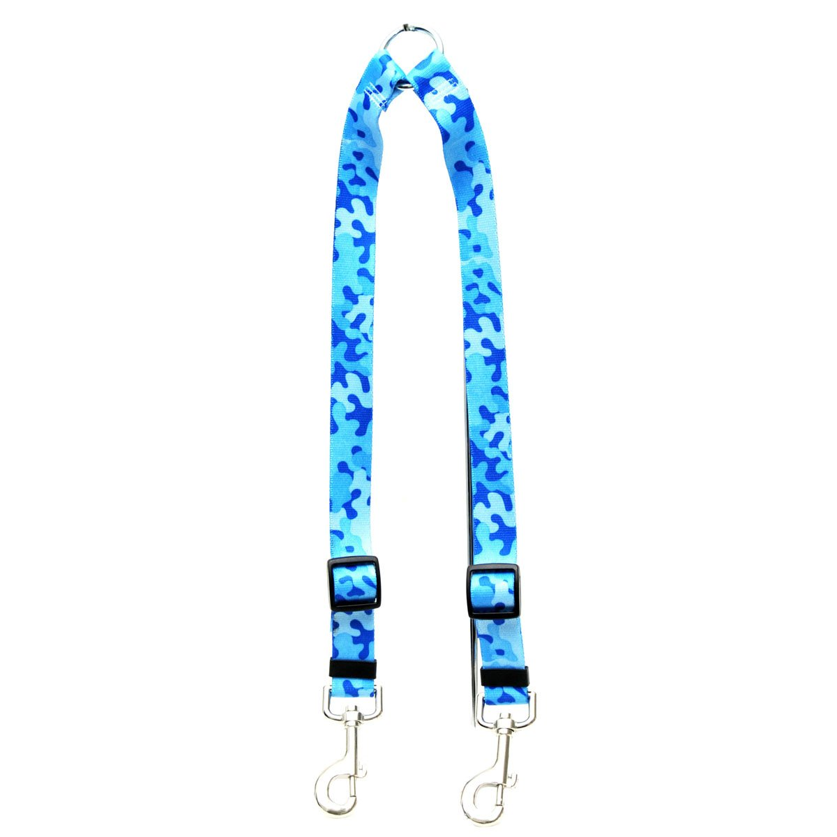 Large Yellow Dog Design Camo bluee Coupler Dog Leash 1  Wide And 12 To 20  Long, Large