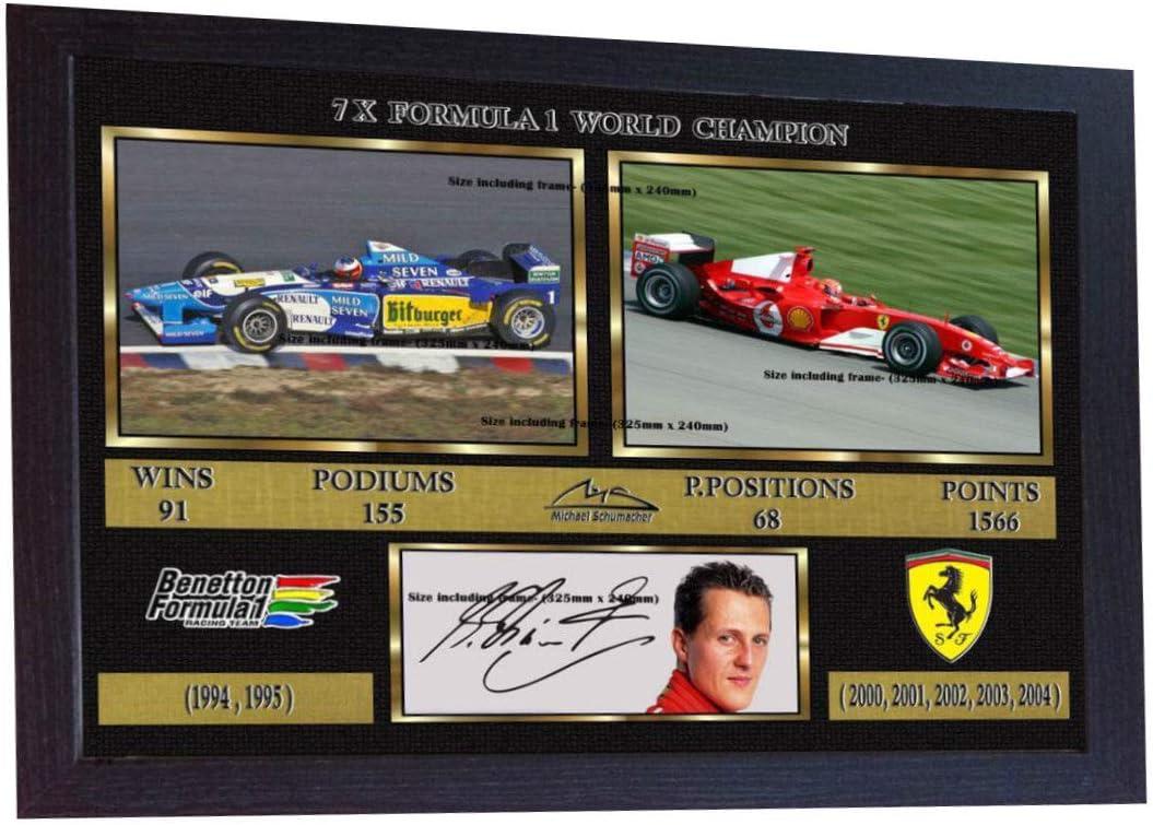 GERAHMTES HWC Trading Michael Schumacher Geschenke Unterzeichneten A4 Gedrucktes Autogramm F1 Formula One Foto-Anzeige