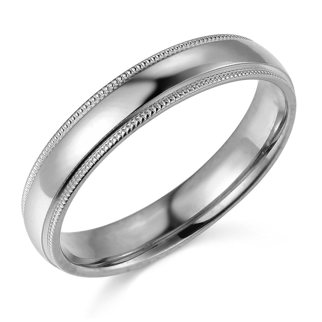 14k White Gold 4mm Plain Milgrain Wedding Band - Size 7.5