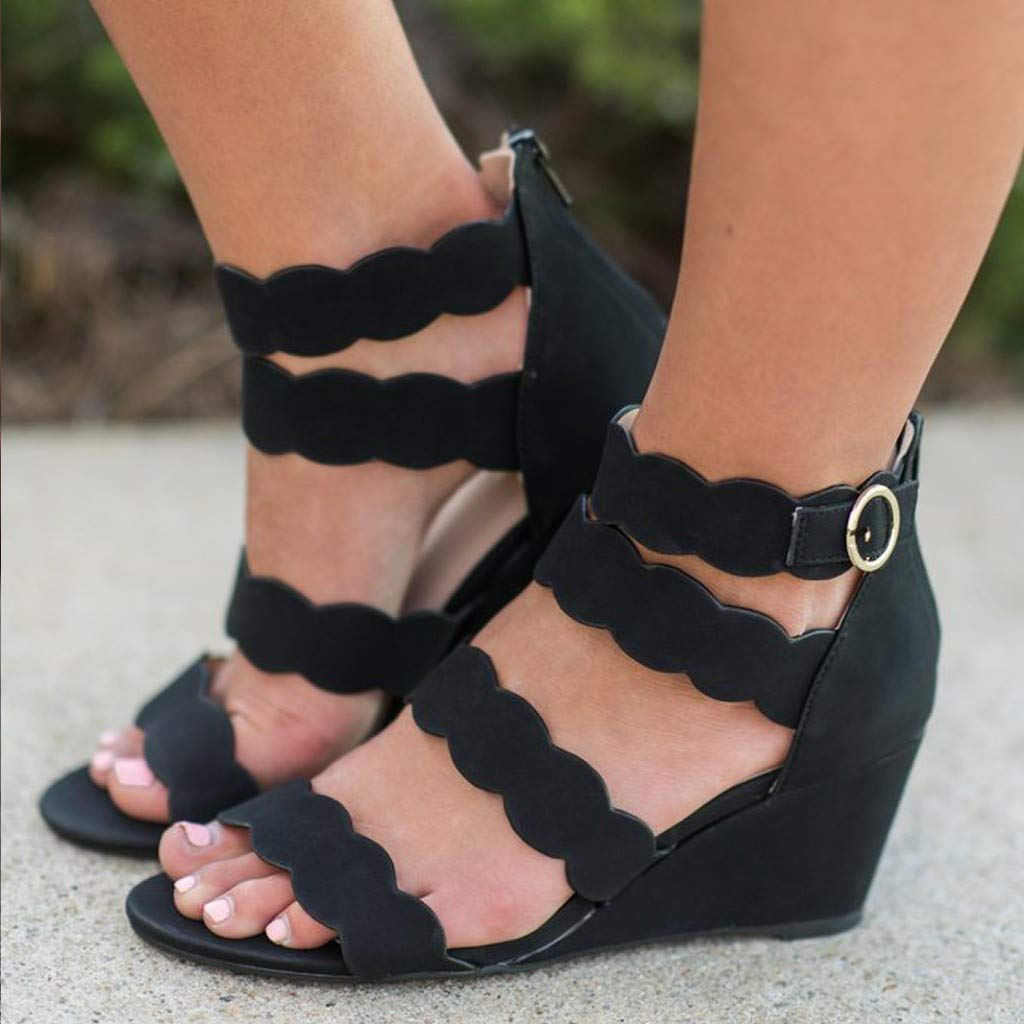 Thenxin Women Hollow Bohemian Lace Wedges Sandals with Open Toe Buckle Ankle Casual Shoes (Black,5.5 US) by Thenxin (Image #2)