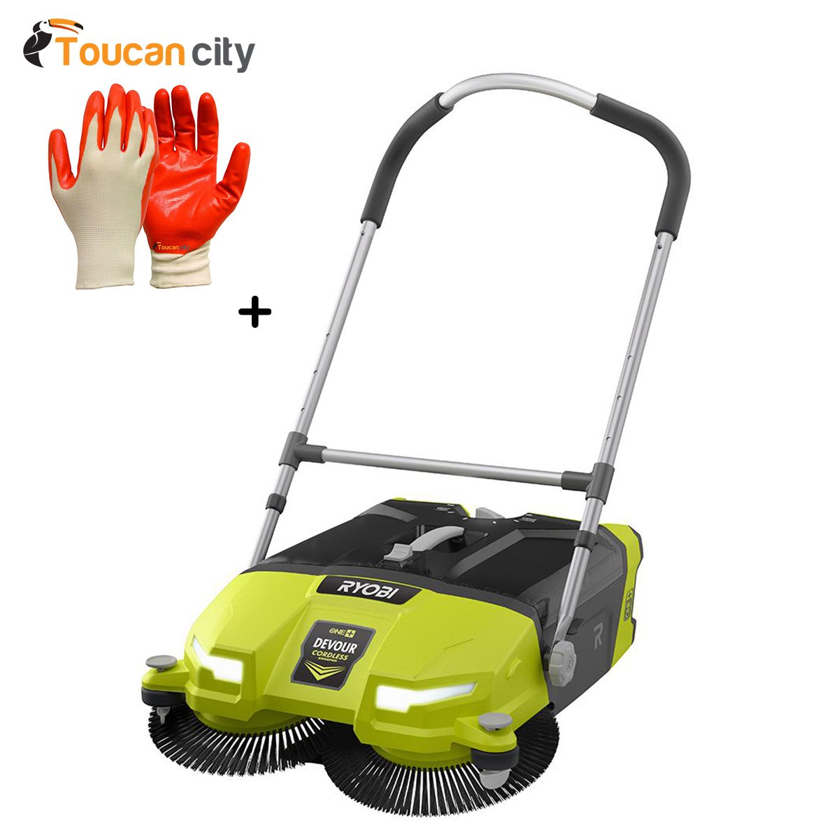 Ryobi 18-Volt 4.5 Gal. Devour Debris Sweeper (Tool-Only) P3260 and Toucan City Nitrile Dip Gloves 5-Pack