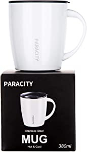 PARACITY Stainless Steel Coffee Mug Insulated Coffee Mug with Handle Double Wall Vacuum Travel mug Tumbler Cup with Spill Lids Great for Hot and Cold Beverages 12 Oz