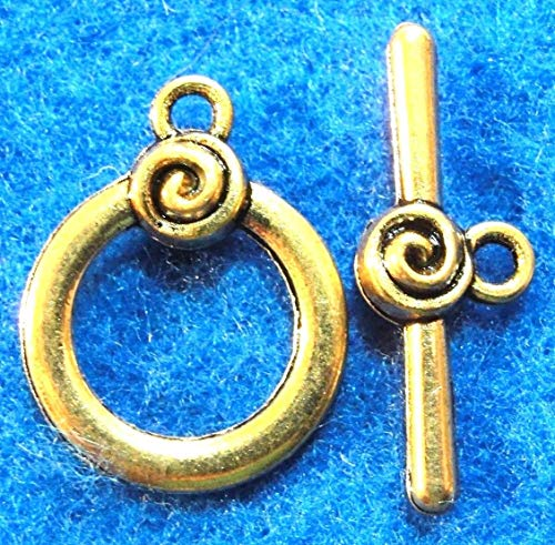 10Sets Tibetan Antique Gold Round Swirl Toggle Clasps Connectors Hooks C340 Crafting Key Chain Bracelet Necklace Jewelry Accessories Pendants -