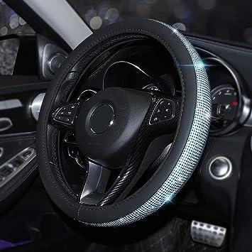 Blueshyhall Pu Leder 15 38cm Auto Lenkradhülle Lenkrad Abdeckung Anti Rutsch Lenkradabdeckung Lenkradschoner Bling Bling Strass Blau Auto