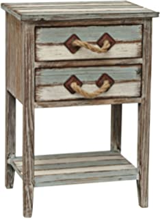 Great Crestview Collection Nantucket 2 Drawer Weathered Wood Accent Table