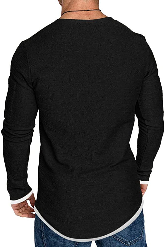 YUNY Mens Cotton Pure Colour Long Sleeve Slim Fit Fake Two Piece Shirts Black XL