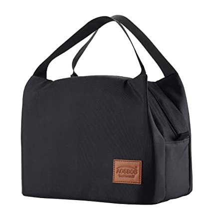58cc81ff3d59 Amazon.com  Aosbos Lunch Bags for Women Insulated Lunchbox Tote Bag Food  Cooler Box Adult Men (Black)  Kitchen   Dining